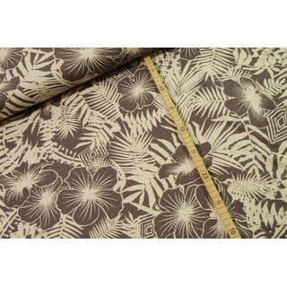 Viskose Leinen Tropical Leaves Grau